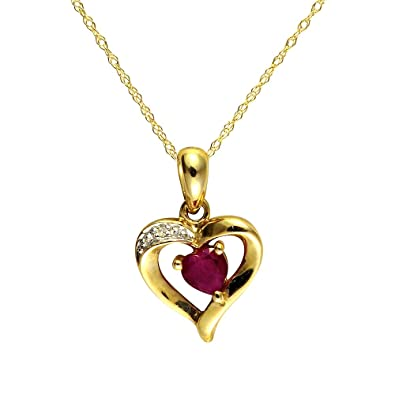 Ivy gems 9ct yellow gold ruby and diamond heart pendant with 46cm ivy gems 9ct yellow gold ruby and diamond heart pendant with 46cm chain aloadofball Image collections