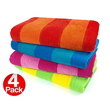 Kaufman Sales 4 Pc Pack Stripe Beach Towel by Ben Kaufman Sales
