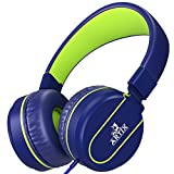 NRGized Headphones with Microphone for Travel, Work, Kids, Teens, Running Sport with In-line Controller (Blue)