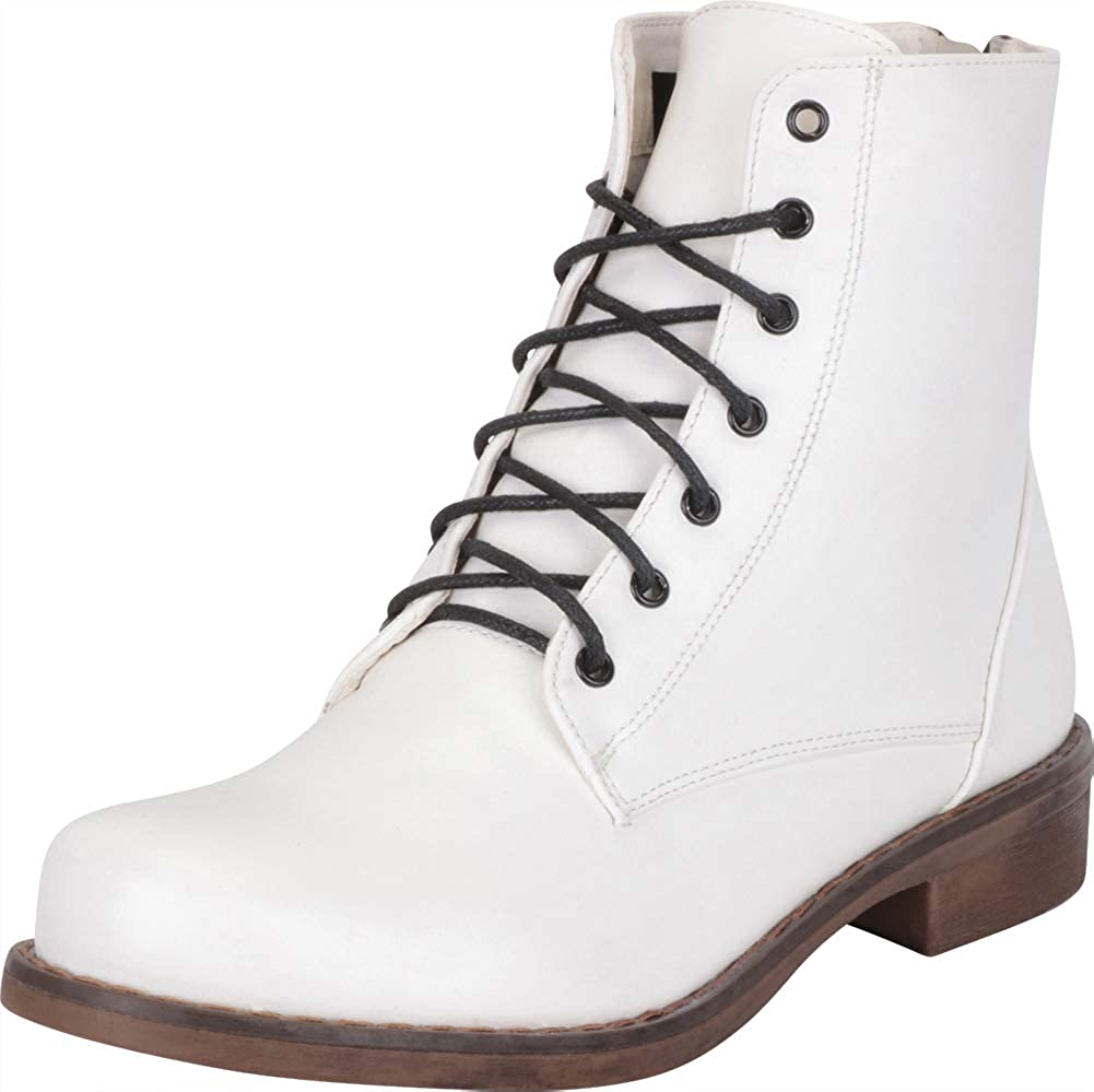 White Pu Cambridge Select Women's Classic Lace-Up Low Block Heel Combat Boot