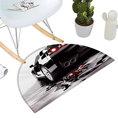 (Cars Semicircle Doormat Modern Black Car with Water Reflection Prestige Fast Engine Performance Lifestyle Entry Door Mat H 35.4
