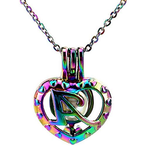 - Werrox Rainbow Color 26 Letter Alphabet Pearl Beads Cage Locket Pendant Necklace Charms | Model NCKLCS - 25084 |