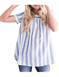 Women Summer New Loose Striped Short Sleeveless Tank Top Blouse