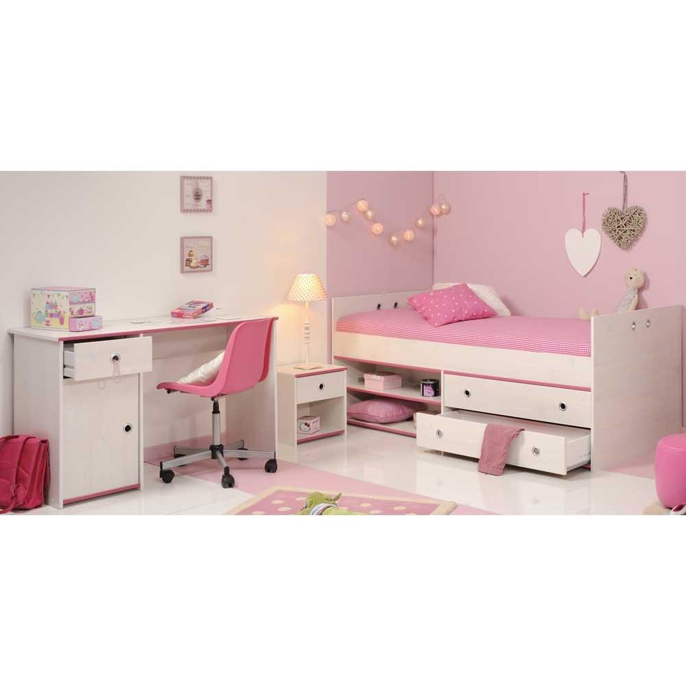 Pharao24 Jugendzimmer Einrichtung in Weiß Pink Stauraumbett
