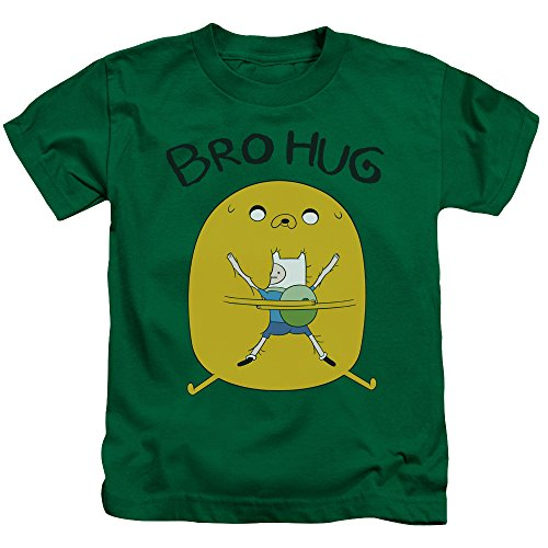 Adventure Time Bro Hug Unisex Youth Juvenile T-Shirt for Girls and Boys, Small (4) Kelly Green