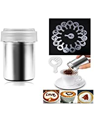 Besokuse Stainless Steel Powder Shakers Coffee Cocoa Cinnamon Shaker Fine Mesh Duster ,with 16 pcs Cappuccino Coffee Latte Art Stencils Model Mould