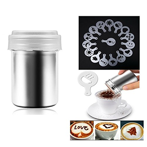 Besokuse Stainless Steel Powder Shakers Coffee Cocoa Cinnamon Shaker Fine Mesh Duster,with 16 pcs Cappuccino Coffee Latte Art Stencils Model Mould
