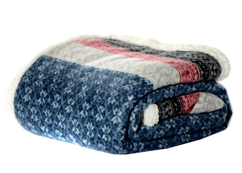 (Eddie Bauer FairIsle Sherpa Reversible Throw, 50 by 70-Inch, Midnight)