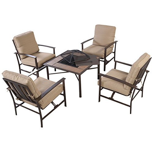 Giantex 5 PCS Patio Furniture Set Chair U0026 BBQ Stove Fire Pit Fireplace  Steel Frame