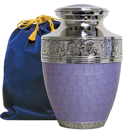 - Eternal Peace Beautiful Lavender Adult Cremation Urn for Human Ashes - A Gorgeous Large Urn, Dazzling to See and Hold and Will Bring Comfort Every Time You See This Loving Urn - with Velvet Bag