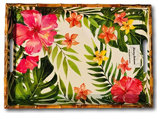 - Tommy Bahama Tropical Hibiscus Bamboo Edge Melamine Serving Tray with Handles