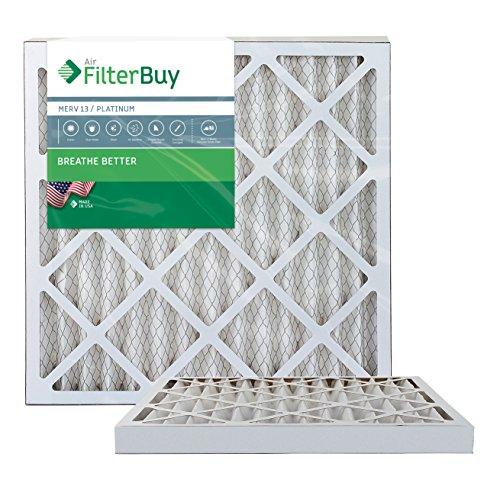 FilterBuy 20x20x2 MERV 13 Pleated AC Furnace Air Filter, (Pack of 2 Filters), 20x20x2 – Platinum