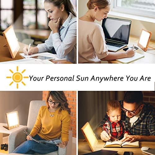 Lichttherapielampe Holzmaserung Tageslichtlampe 10,000 Lux SAD Therapie EnergieLicht, Tragbares natürliche Sonnenlicht Tageslicht lampe mit wählbarem Timer und Dimmung Perfekt für schlafzimmer büros