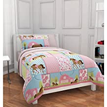 Girls, Pony, Country Horse Twin Comforter, Sheets & Sham Set (5 Piece Bed In A Bag) by Country Living