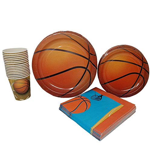 Basketball Party Supplies (65+ Pieces for 16 Guests!), Hoops Birthday Kit, Basketball Tableware Pack, Basketball Decorations ()