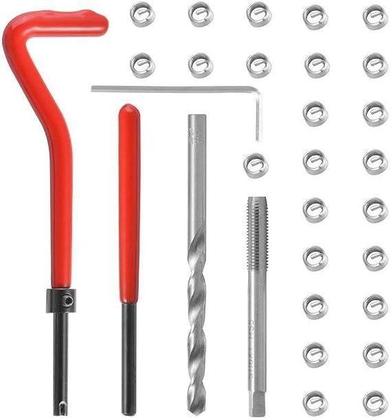 30pcs Metric Thread Repair Insert Kit M6 x 0.75 Steel Helicoil Coil Tools set