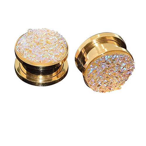 Longbeauty Pair Stainless Steel Sparkling Glitter Flesh Tunnel Ear Expander Screw Plugs Gold Yellow 8MM