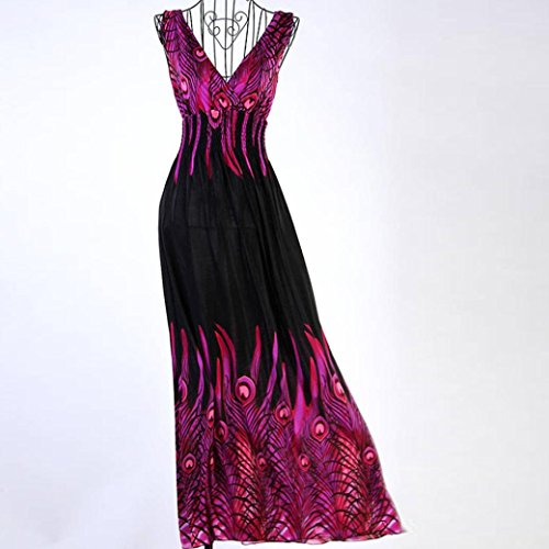 Bekleidung Longra Sommerkleid Damen Pfau drucken ärmelloses Beach Kleid Boho Damen Party lange Maxi Abendkleid Purple