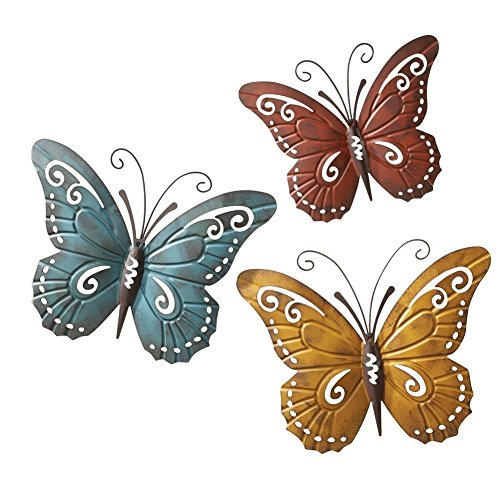 Trio Butterfly Art (Nature Inspired Metal Butterfly Decorative Wall Art Trio Hang Indoors or Outdoors)