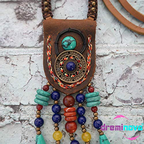 - DREMINOVA Boho Beaded Necklaces for Women Long Pendant Beads Wood Necklaces for Women Beads Necklace Wooden (Artistic Ethnic)