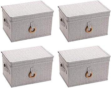 MU Caja de almacenamiento grande con tapa, plegable, caja de almacenamiento de armario de tela, ropa tipo cajón,gris,42 * 30 * 20cm: Amazon.es: Bricolaje y herramientas