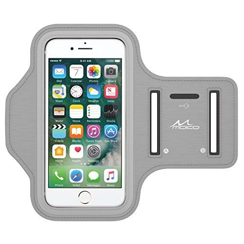 MoKo Armband for iPhone 8 / iPhone 7 / 6s / 6, Sweatproof Sports Armband Running Arm Band for iPhone 8, 7, 6S, 6, 5S, 5, Galaxy S9, S8, S7 Edge, BLU 5.0, Moto G, Silver (Fits Arm Girth 10.8