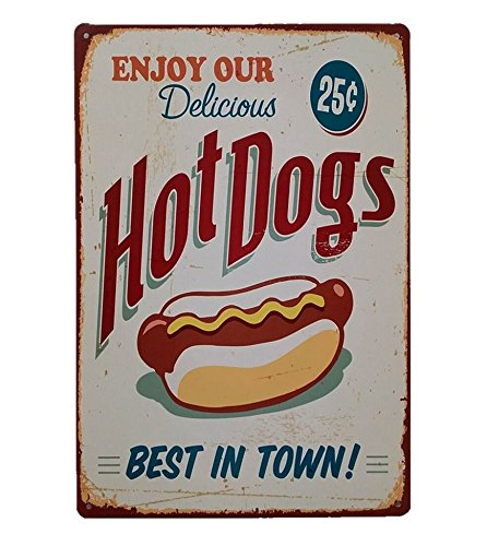 - UNiQ Designs Metal Tin Signs - Hot Dogs Best In Town Food Sign - Hot Dog Decorations Metal Food Signs Hotdog Sign - Vintage Poster Food Tin Food Signs - Hot Dog Tin Signs Vintage Funny - Pub Sign 12x8