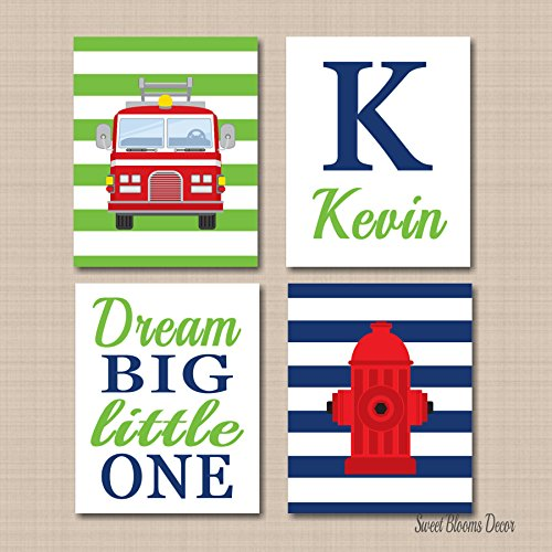 Navy Blue Truck (Fire Truck Wall Art Kids Room Decor NAvy Blue Lime Green Fire Truck Wall Art Fire Truck Hydrant Name UNFRAMED 4 PRINTS (NOT CANVAS)C584)