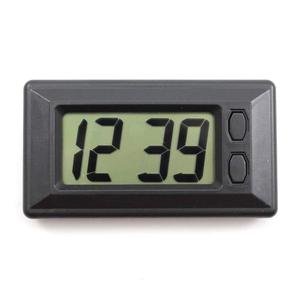 JER Slim LCD Digital Alarm Clock Portable Small Car Clock Durable Vehicle Quartz Clock With Stent Function