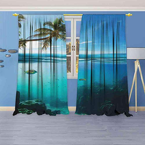 Blackout Curtains Ocean,Tropical Underwater Shot with Surface Coconut Tree and Sky Aqua Water Theme Paradise Image,Turquoise Curtains Unique W120 x L108(305cm x -