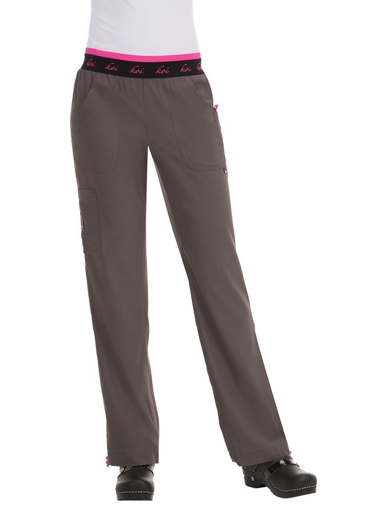 koi Lite Women's Spirit Logo Elastic Waistband Scrub Pant Medium Tall Steel