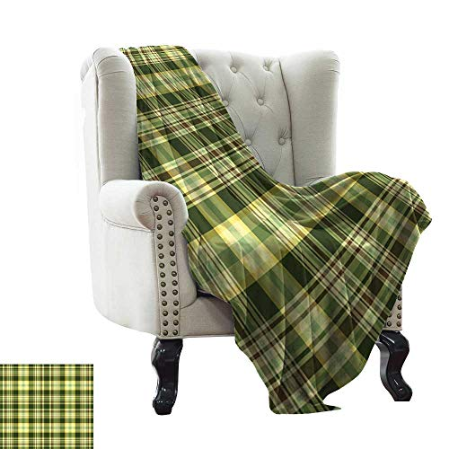 LsWOW Baby Blanket Olive Green,Quilt Pattern Traditional Scottish Design Checkered Geometrical,Dark Green Yellow Brown Indoor/Outdoor, Comfortable for All Seasons 50