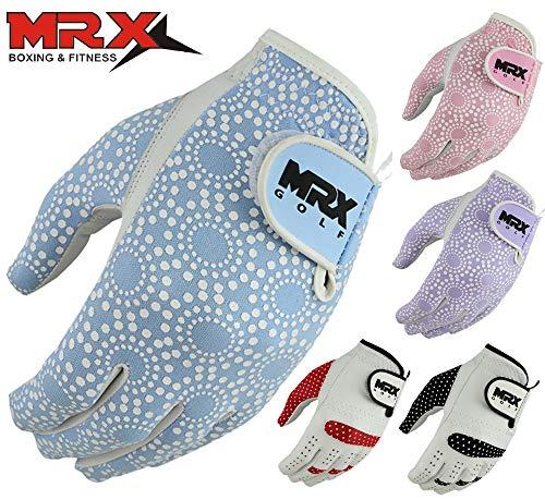 MRX BOXING & FITNESS Womens Golf Glove Soft Cabretta Leather Regular Fit Women Golfer Gloves Left Hand (Sky Blue-Large)