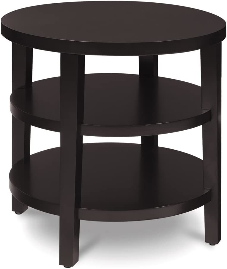 Ave Six Merge Round End Table, 20-Inch, Espresso