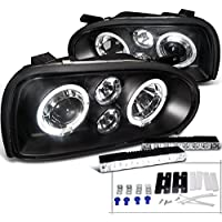 VW Golf MK3 Black Dual Halo Projector Headlights+6-LED Bumper Fog Lamp DRL