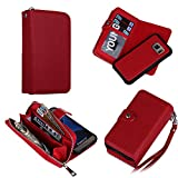 Eloiro Samsung Galaxy S7 Zipper Wallet Case, PU Leather Button Lock Closure Shell Detachable Folio Flip Back Cover Protective Soft Skin with Cash and Card Slots & Removable Strap for Galaxy S7 - Red