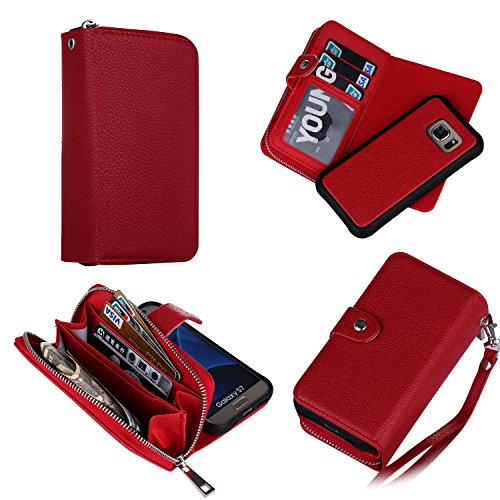 Eloiro Samsung Galaxy S7 Zipper Wallet Case, PU Leather Button Lock Closure Shell Detachable Folio Flip Back Cover Protective Soft Skin with Cash and Card Slots & Removable Strap for Galaxy S7 - Red]()