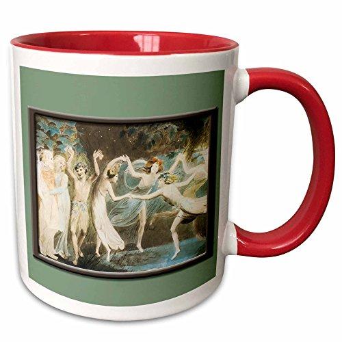 Dancing Collection Fairies (3dRose BLN Fairies Fine Art Collection - Oberon Titania and Puck with Fairies Dancing Willam Blake c. 1785 Fairy Painting - 15oz Two-Tone Red Mug (mug_126217_10))