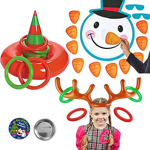 Christmas Holiday Party Game Pack With 3 Games Perfect For Adults and Kids With Pin the Nose On The Snowman, Inflatable Elf Hat Ring Toss, Reindeer Ring Toss Game, And Exclusive Birthday Pin By Another Dream! -