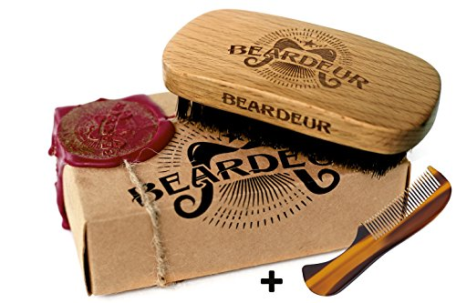Professional Skin Conditioner Refill (Beard Brush, Best Natural Wooden Hair Brush For Men, 100% Firm Black Wild Boar Bristle, Use with Balm & Beard Oil to Style & Groom, Premium Military Style Palm Brush for Beard Care, Barbers Tool)