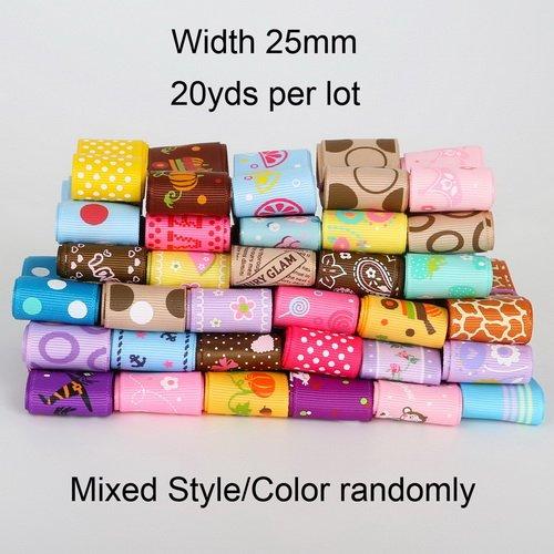 Satin Ribbon - Black Satin Ribbon - 20 Yard Fashion Mixed Size/Style Grosgrain And Satin Ribbon Randomly 10MM 15MM 25MM - 25mm - Red Satin Ribbon