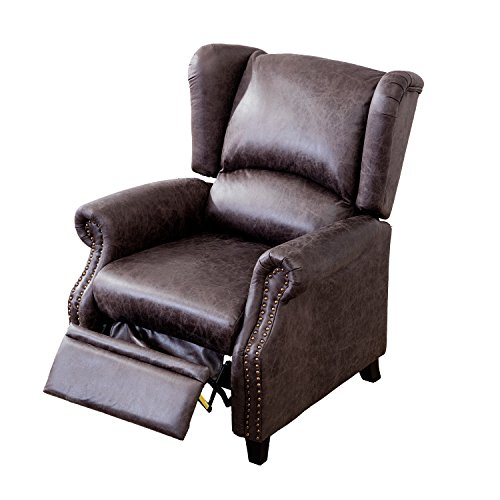 Leather Leg Recliner (BONZY Recliner Chair High Leg Recliner Chair with Traditional Wing Back Nailed Triming Covered with Leather Like Micro Fiber - Smoke Gray)