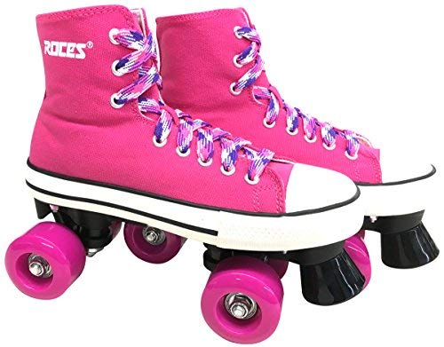 Roces Chuck Roller Skates with Plaid Laces Pink (Mens 5 / Ladies 7)