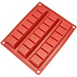 Freshware CB-801RD 3-Cavity Silicone Mold for Making Break-Apart Chocolate Chunks, Protein and Energy Bites, and More
