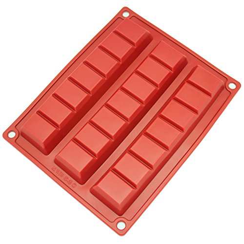 (Freshware CB-801RD 3-Cavity Silicone Break-Apart Chocolate Chunk, Protein and Energy Bar Mold)