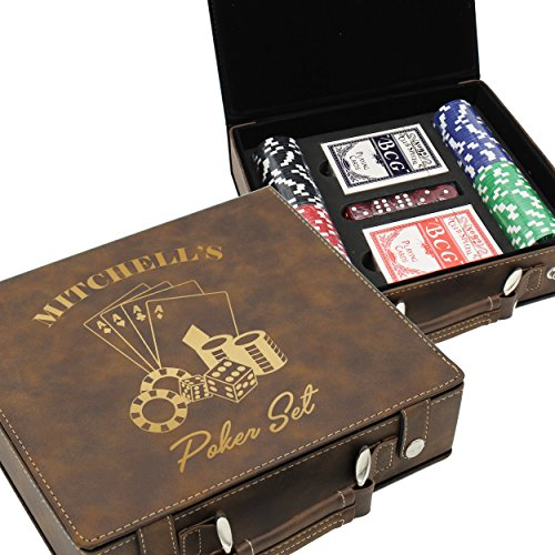 The Wedding Party Store Custom Poker Set Case - Personalized Gifts for Poker Player - Engraved for Free (Brown)