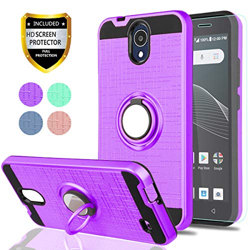 AT&T AXIA Case (QS5509A),Cricket Vision Case with HD Phone Screen Protector,YmhxcY 360 Degree Rotating Ring & Bracket Dual Layer Resistant Back Cover for AT&T AXIA (Cricket Vision) 2018-ZH Purple