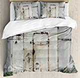 Ambesonne Industrial Decor Duvet Cover Set King Size, Closed Worn Out Rusty Iron Door Abandoned Building Factory Picture, Decorative 3 Piece Bedding Set with 2 Pillow Shams, Beige Brown Green