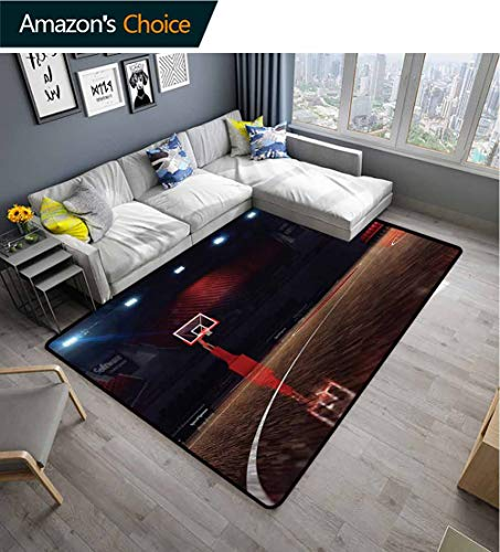 TableCoversHome Basketball Solid Area Rug Underpadding, Empty Basketball Court Pattern Printing Carpet, Easy Maintenance Area Rug Living Room Bedroom Carpet (2'x 3') (Court Octagonal Rug)