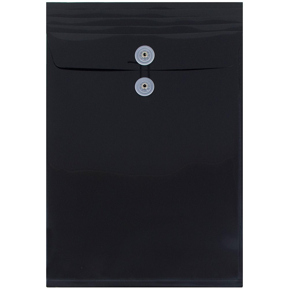JAM Paper Plastic Envelope with Button and String Tie Closure - Legal Open End - 9 3/4 x 14 1/2 - Black - 12/pack